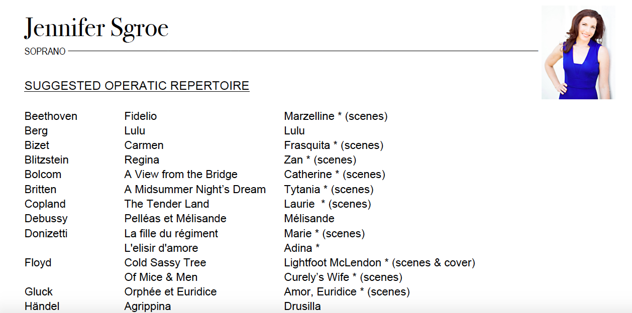 Suggested Repertoire -