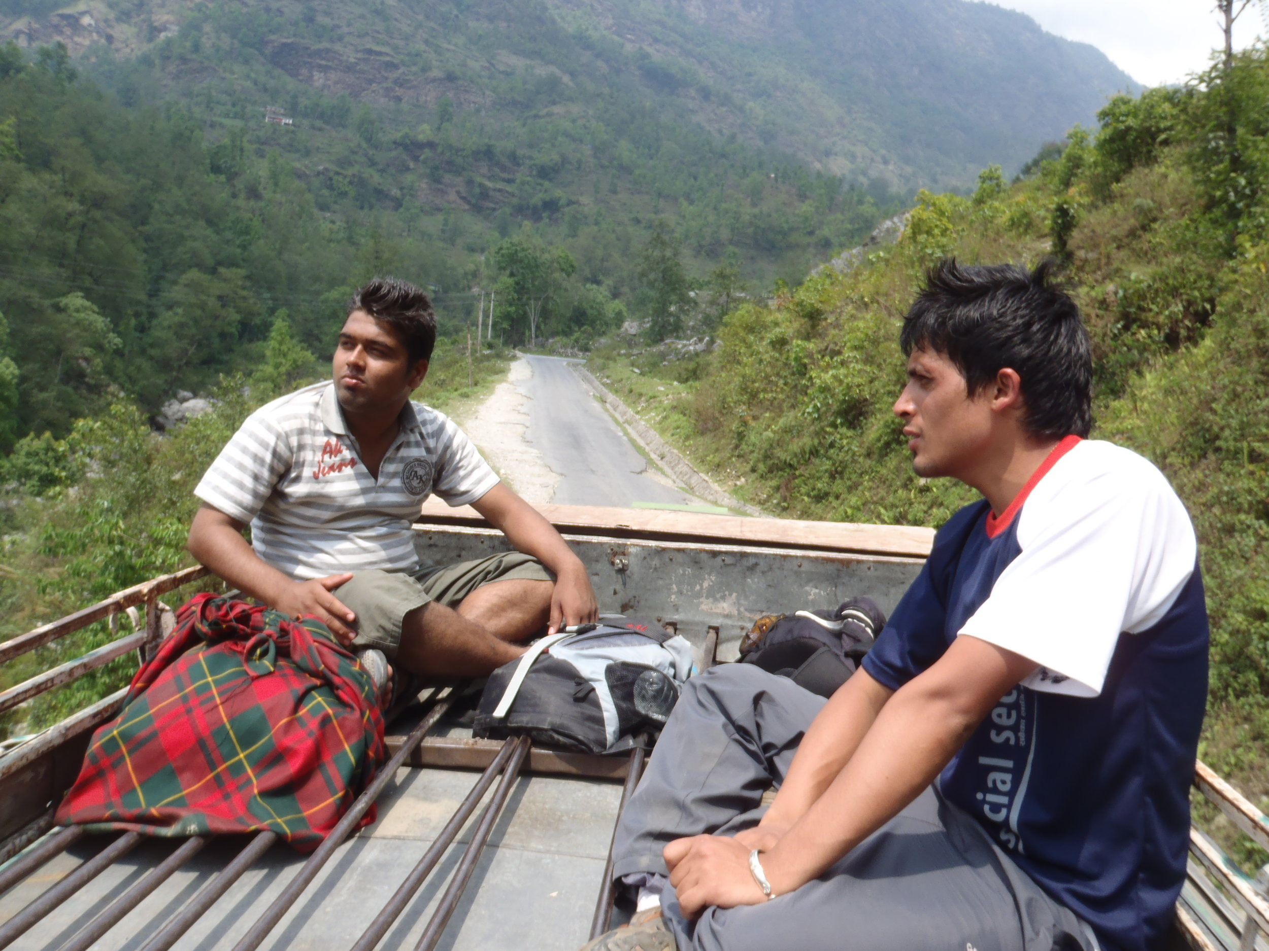 Chilling on the roof of a bus bound to Pokhara
