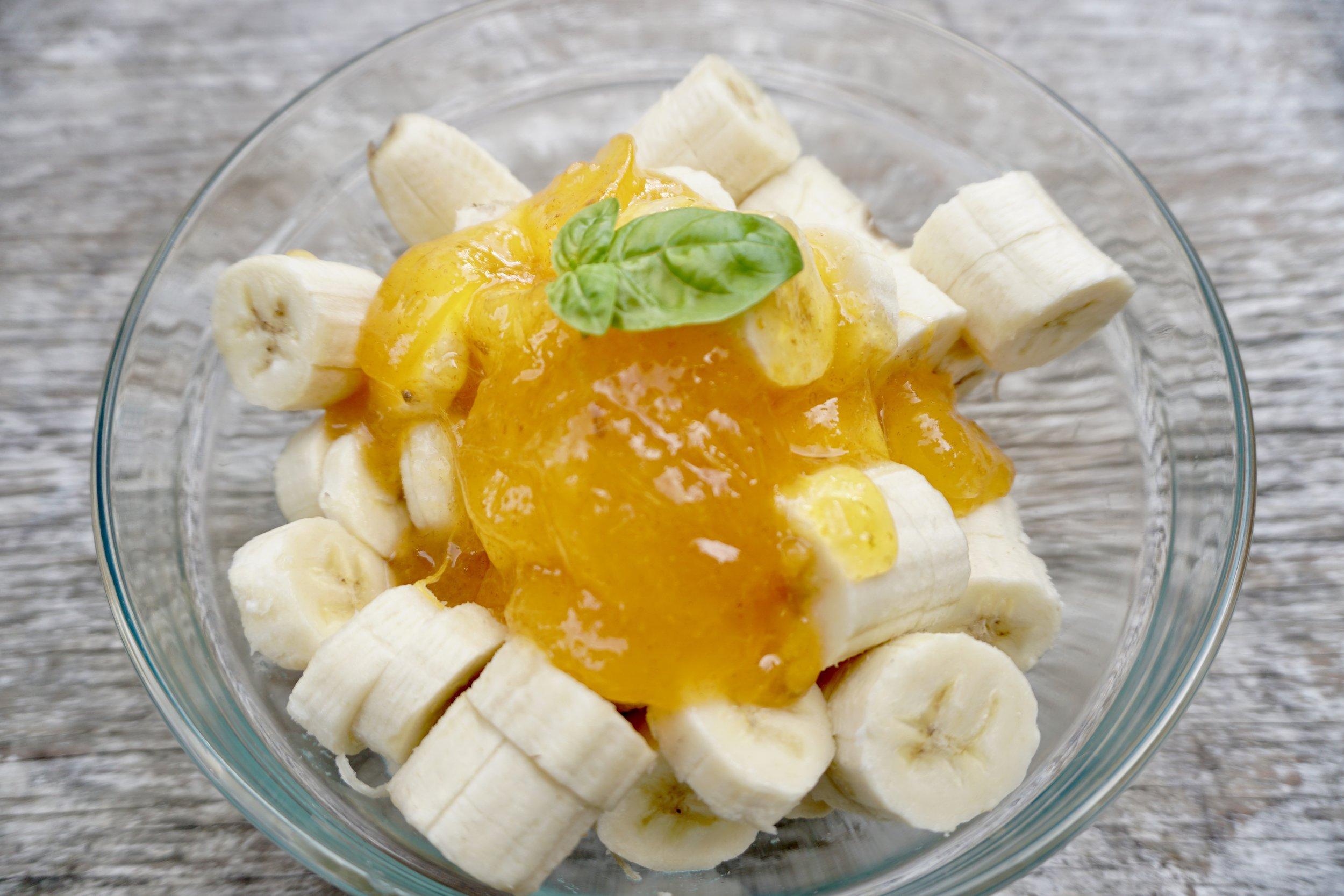 Banana with persimmon