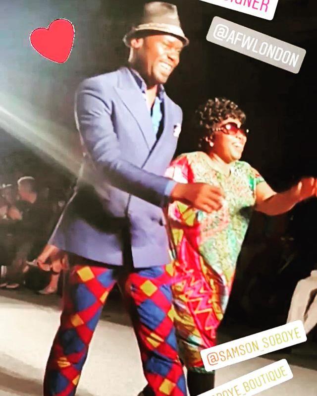 Fashion Designer Samson Soboye with his mother at AFWL 2018