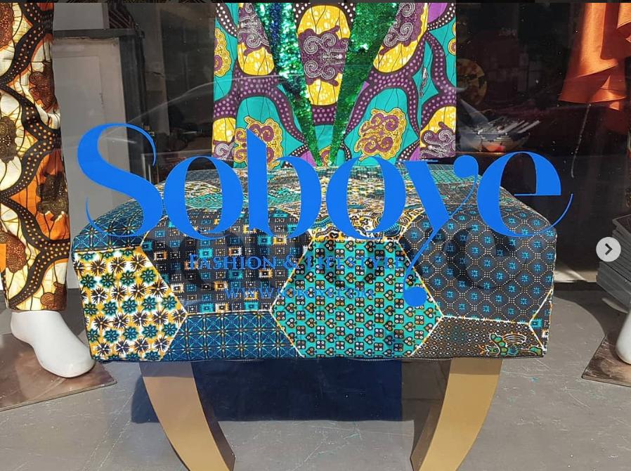 Bespoke Bri Peprah stool in the Soboye window display
