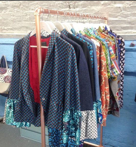 Sequin bell sleeved jacket by SOBOYE front and centre at A.C.E in Hackney Central
