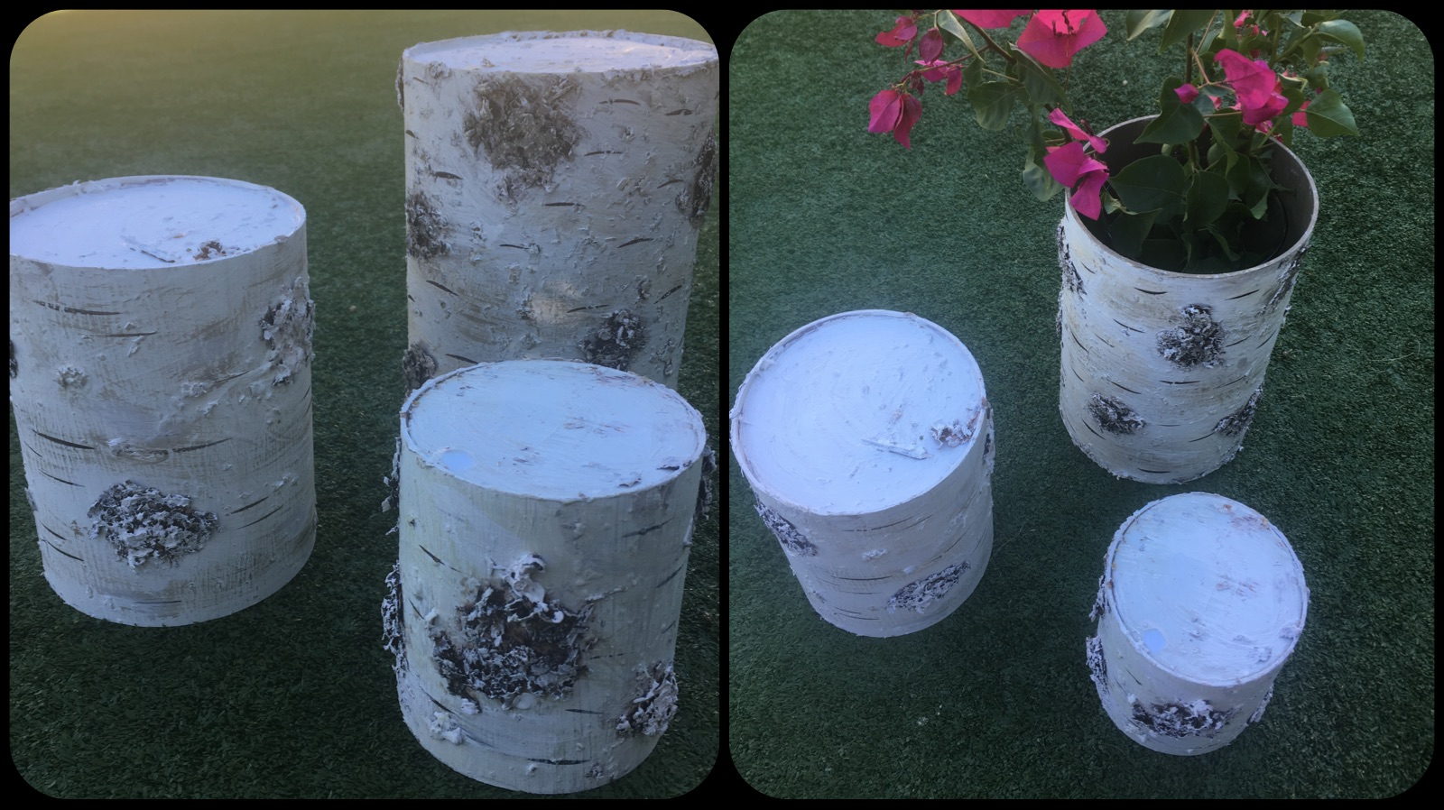 Added to the Woodlands Collection: faux birch risers/vases - set of three