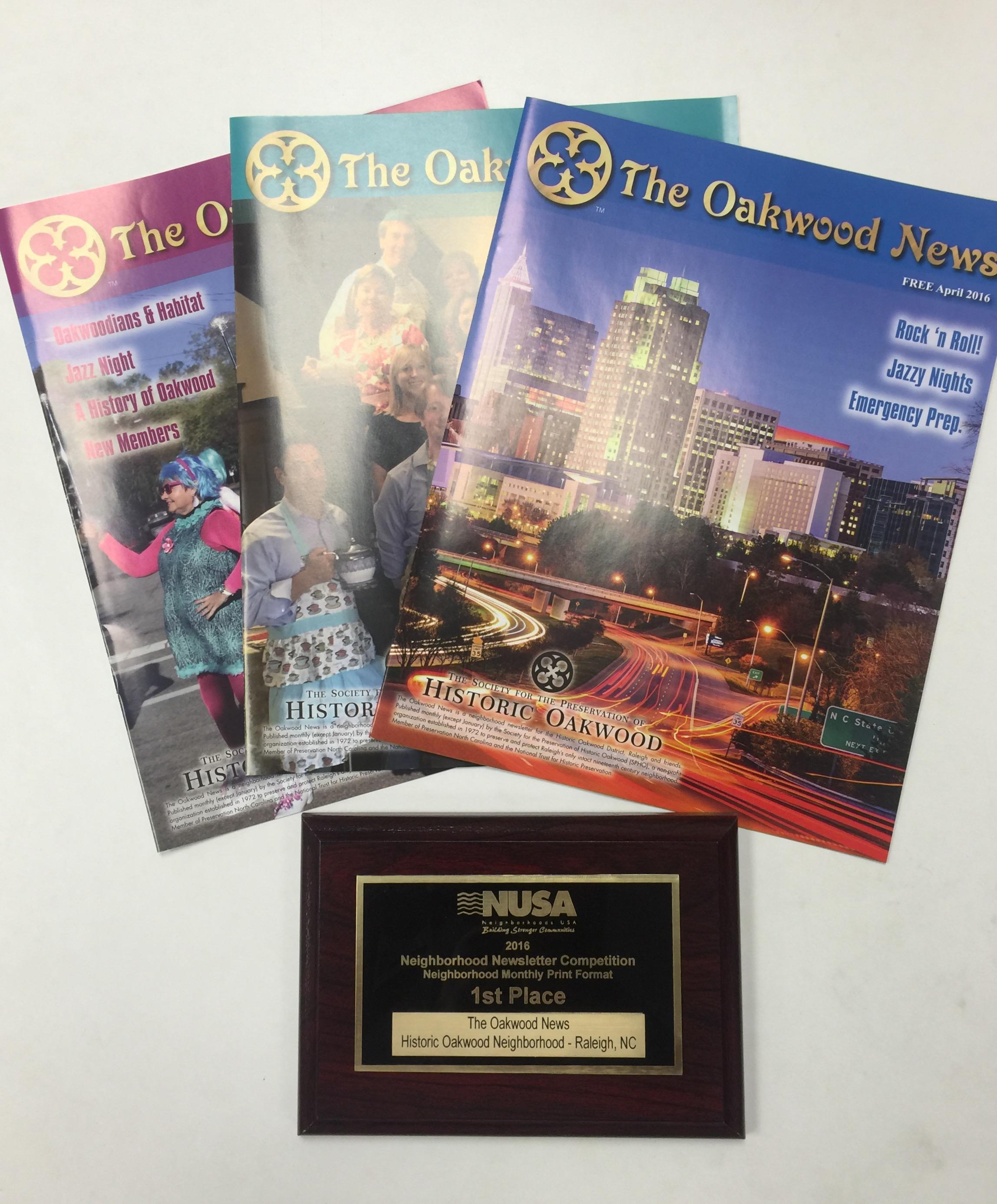 The Oakwood News 1st Place Winner - Best Printed Neighborhood Newsletter by Neighborhoods USA, 2016