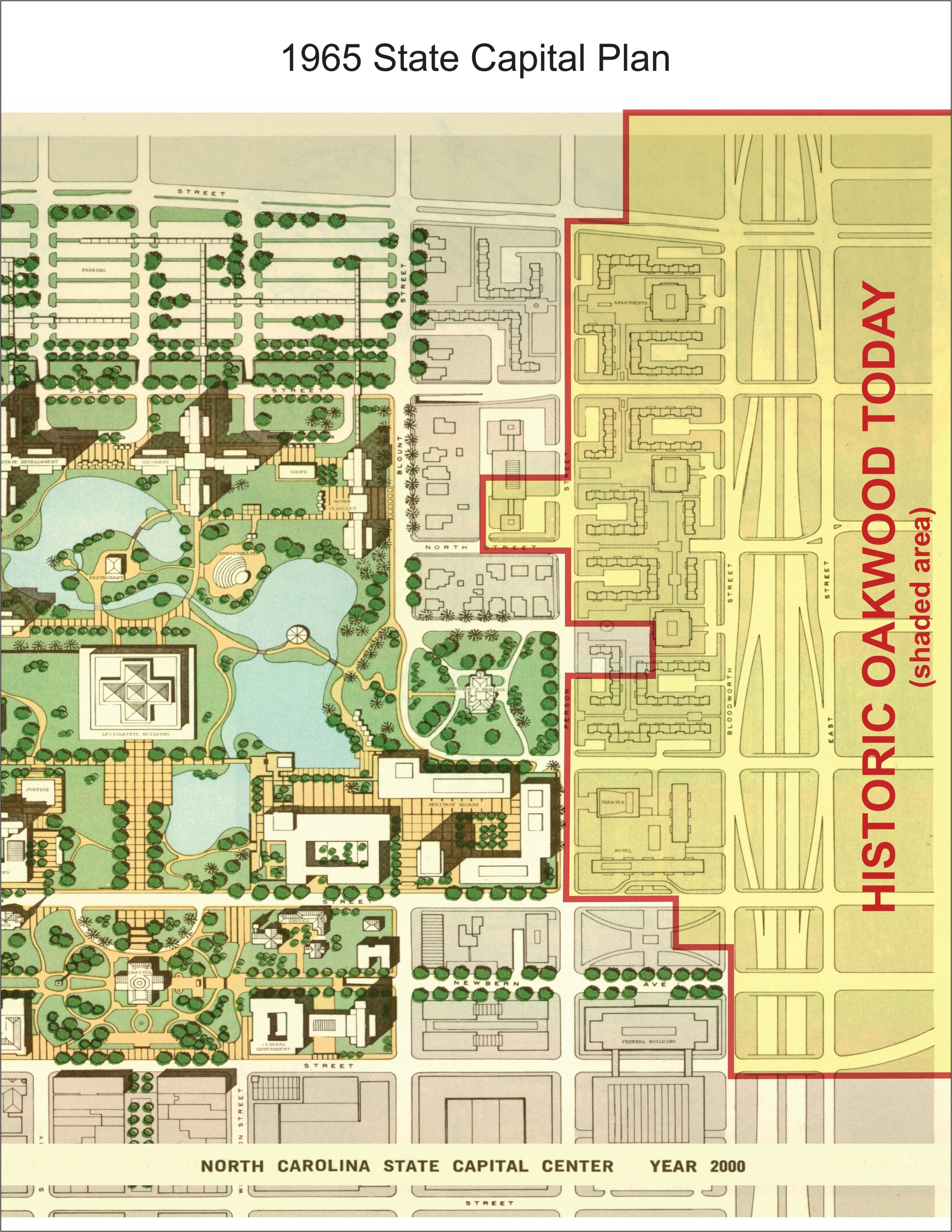 1965 State Capital Plan claiming nearly half of today's Oakwood for development.