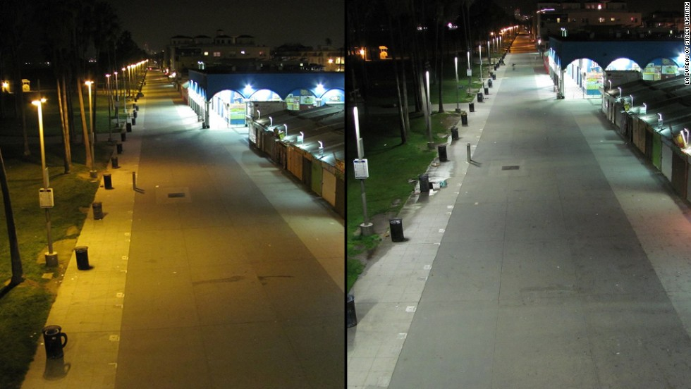 Image comparing warm sodium vapor street lights to cool white LED lights.  source: cnn.com