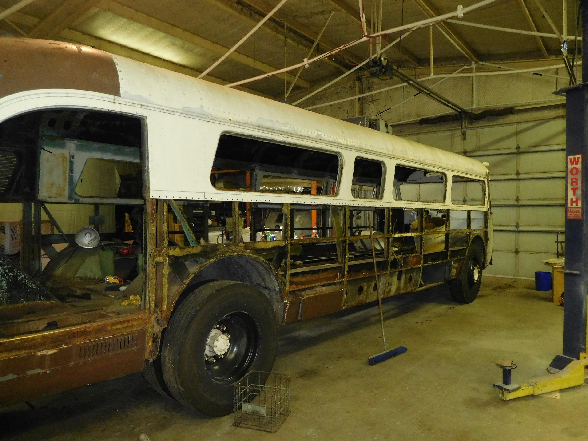 Side skins removed, all rivet holes at window belt line will be reused.
