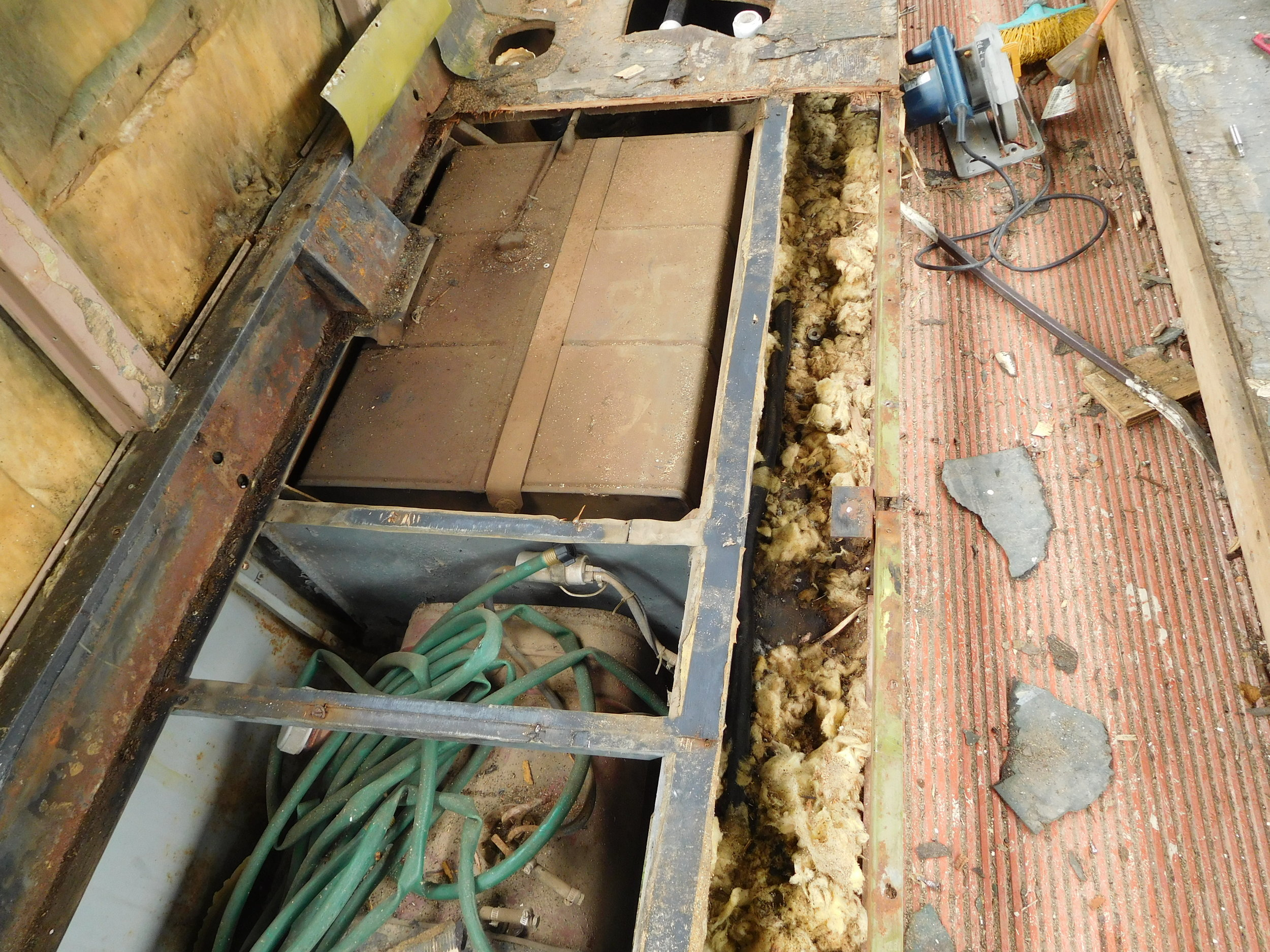 Floor and tanks below are removed