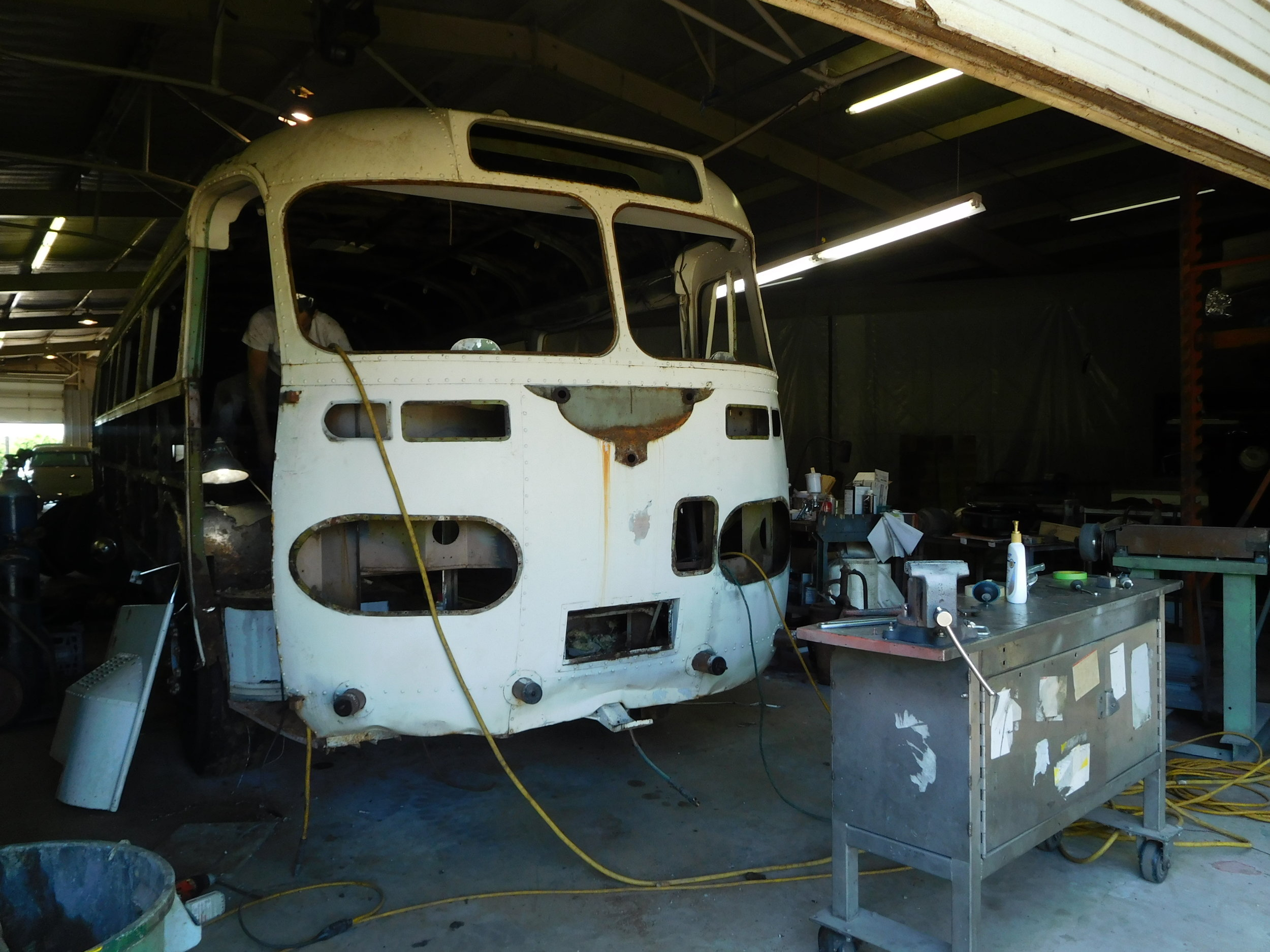 Windshields, lights, bumpers, wiper motors, wiring, and plumbing removed