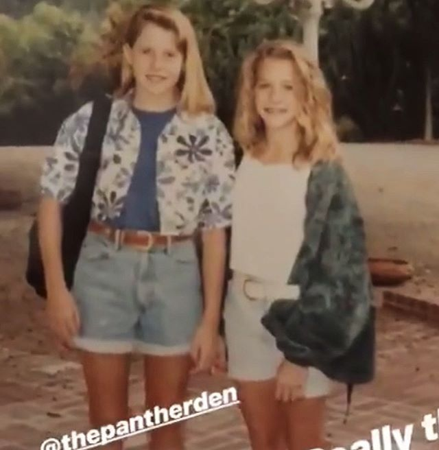 @busyphilipps posted a pic of her and her BFF @emilybbb from 7/8th grade. It reminded me of this photo of me and my childhood BFF @thepantherden from our first day of 7th grade. ❤️ Love you, my little Kooberth!