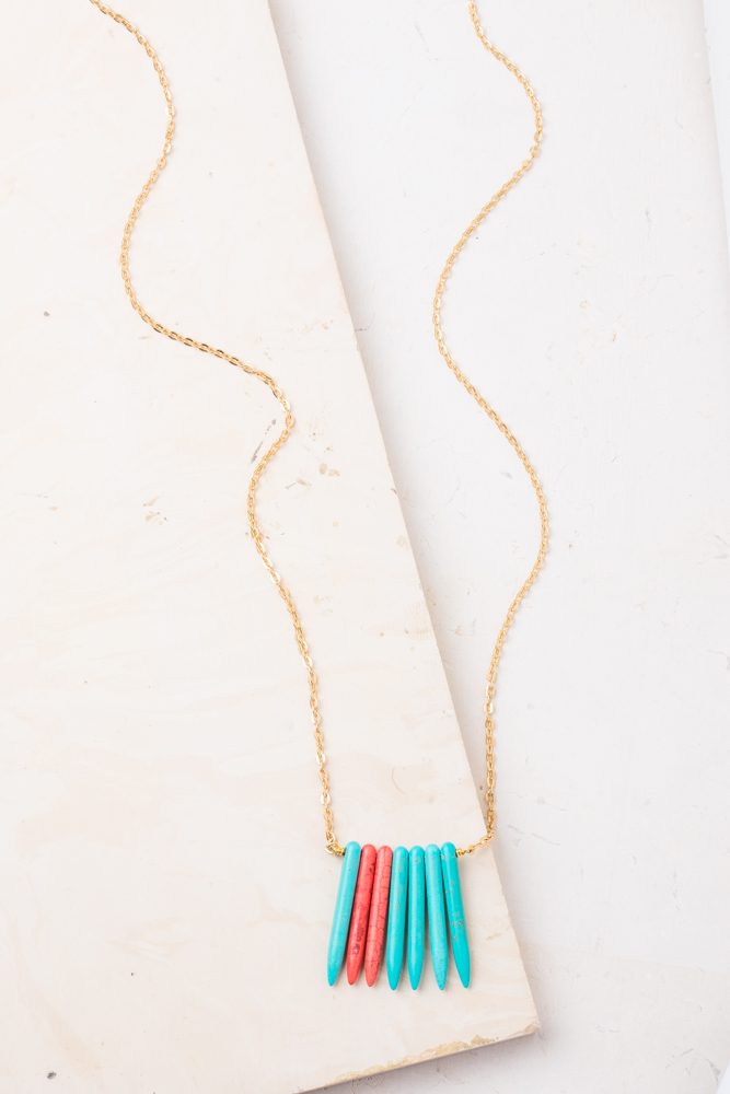 Lydie Turquoise and Orange Necklace $39.99