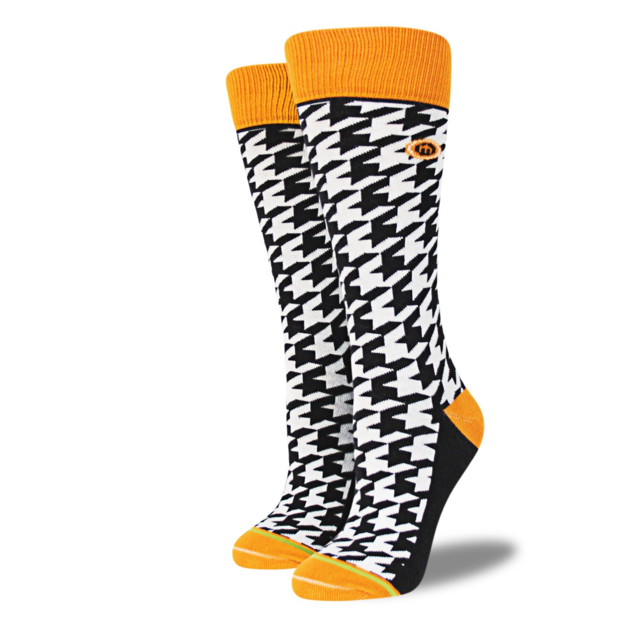 These houndstooth socks with the yellow trim are sure to brighten up the dreariest January day!  The Mac sock $14