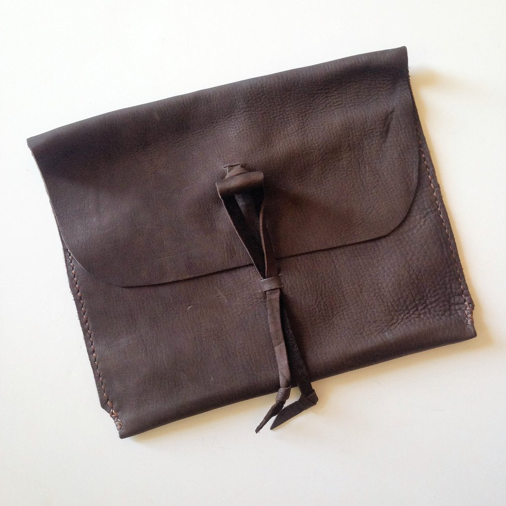 Hand-stitched Leather iPad Sleeve $38