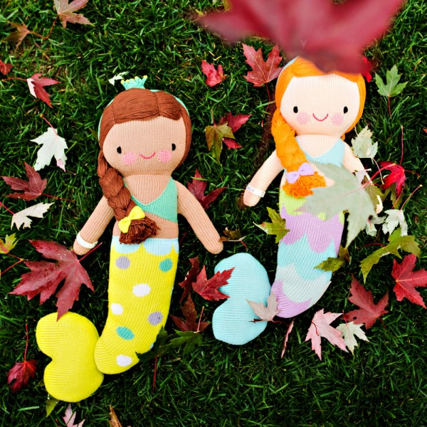 """Sweet dreams of underwater kingdoms are sure to await your little mermaid! 13"""" doll:  $45.  20"""" doll: $65."""