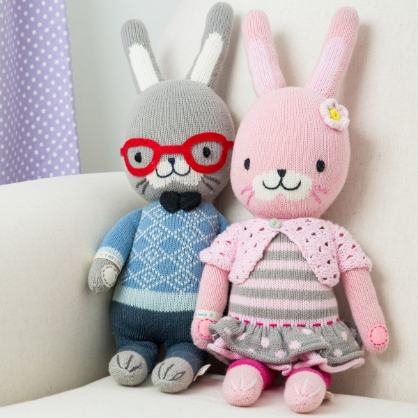 "Know a bunny lover? Benedict and Chloe are absolutely darling--just look at those glasses and that little skirt! 13"" doll: $45. 20"" doll: $65."
