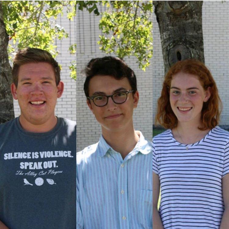 Left to Right:Jakob Dornhofer, Jack Kappelman,and Piper Neulander outside of their high school, LASA.