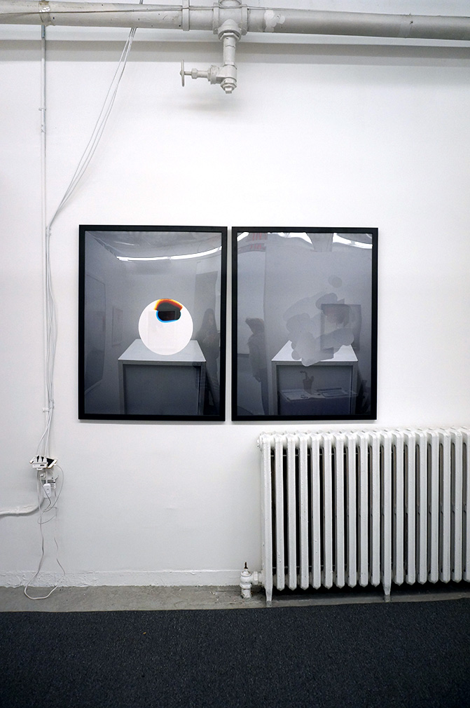 (left to right)  Pedestal: Flash 02; Pedestal Edit: Flash 02 , 2016, Digital C-Print, 30 x 40 in.  Installation View (S)PACE 03  Exhibited at Parsons School of Design, 2016
