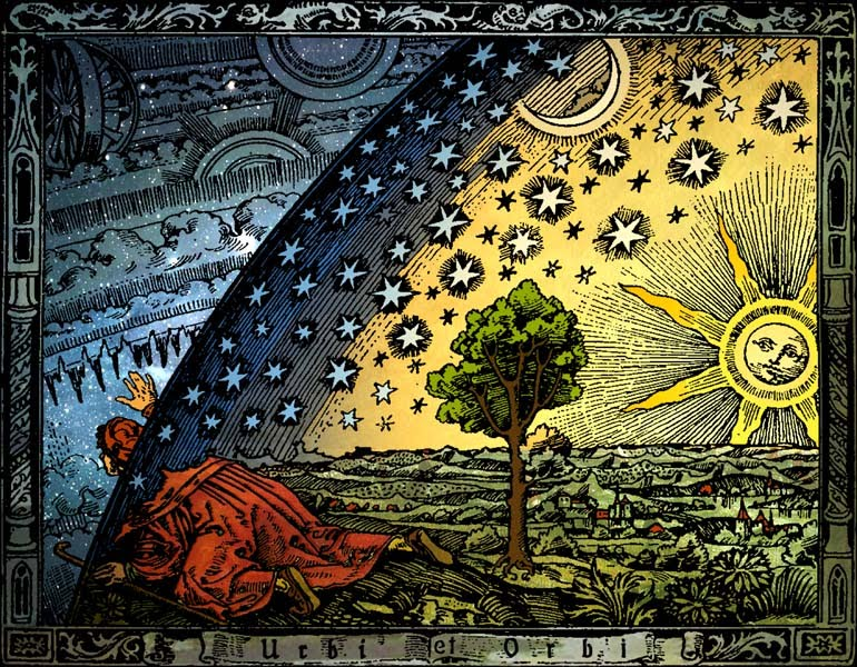 Flammarion Woodcut, unknown origin, dated 1888. Click image to read more about this interesting work.