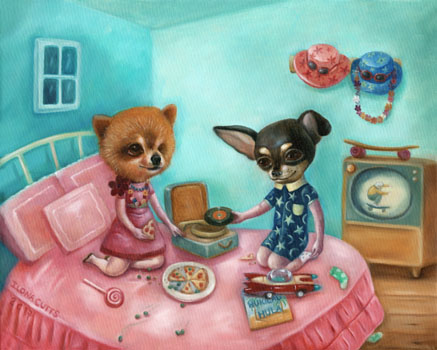 """Hukilau Hula, 2017 (oil on canvas)  Delilah and Chaggaboom are best friends. They love listening to Hawaian music like """"Hukilau Hula"""" and dressing up in a 1960's pyjama party. Delilah (is a rescue and has only one eye.) She loves cookies and pizza crust. Chaggaboom adores skateboarding and hiding socks in all sorts of unimaginable places. They are both in Heaven now and remembered dearly by their owner Michael Angelo. (This painting went to California. USA)"""