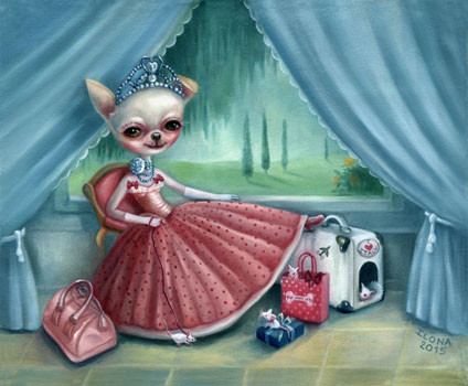 """""""Tessa, the fashionist"""" 2015 (oil on canvas)  I painted """"Tessa, the fashionist"""" in 2012 for Tessa's human Mom Shifra. Tessa is a beautiful real life Chihuahua model for Haute Couture clothing at a luxury dog boutique. She loves going shopping in Italy for the Italian Haute Couture designs! (This painting went to Canada.)"""