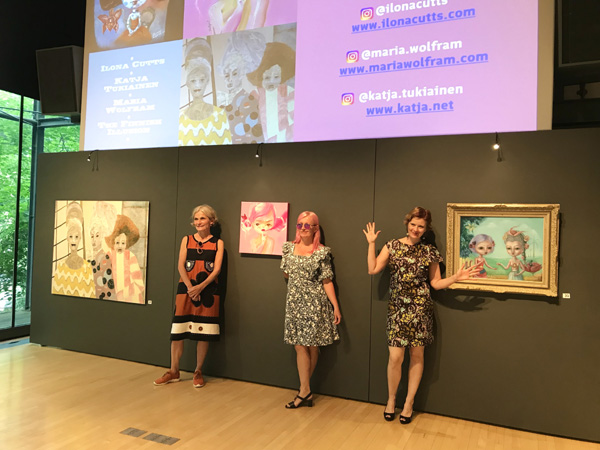 "From left to right: Maria Wolfram, Katja Tukiainen, Ilona Cutts  Embassy of Finland, June 2018  ""The Finnish Illusion"" exhibition."