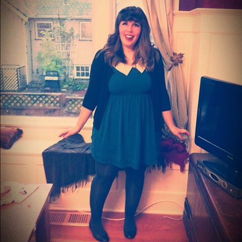 """Zooey Deschanel from """"New Girl""""  I didn't actually have bangs so I used a few (dozen) bobby pins and tucked my hair up. Throw on a cute dress with a cardi and you're good to go!"""