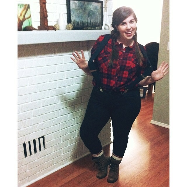 Lumber Jane   Got a plaid shirt and boots? Perfect! Just hit up Walmart and pick up some suspenders and wooly socks. Instant lumber-babe.
