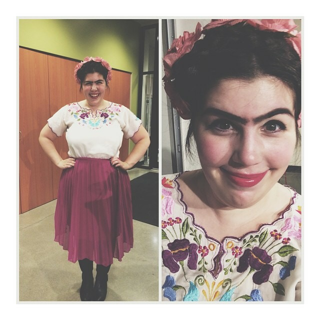 Frida Kahlo   I love all things art history and I couldn't pass up the chance to rock a unibrow and a flower crown. FRIDA. I found a floral shirt, whipped out my flower crown and pencilled in a gnarly brow *singular*. Considering doing this look on a regular basis.