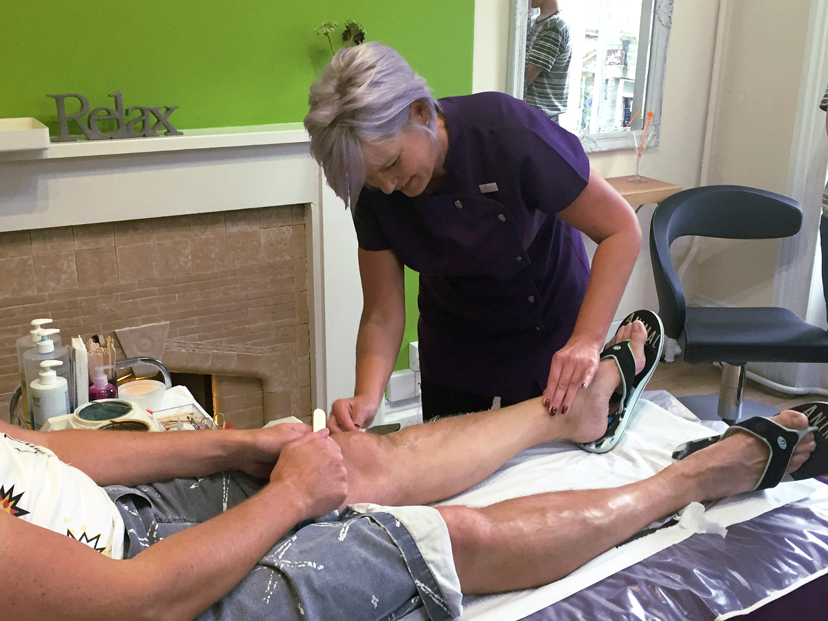 All in the name of charity - John gets the smoothest legs in Tavistock all for The Mary Budding Trust.