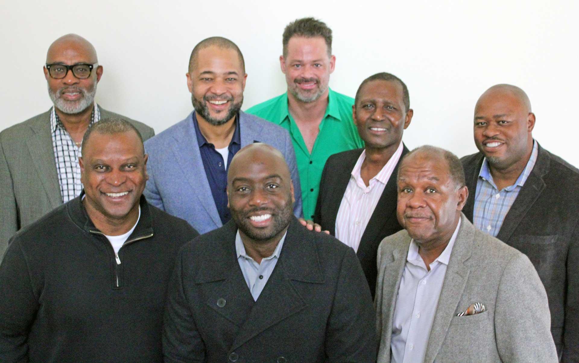 ALCF BOARD OF ELDERS   Front row (left to right): Keith Richardson, Trevor Speech, Carlton Saunders; Middle (L to R): Bryan Loritts, Archelle Funnié, Ezekiel Harvey; Back (L to R): Rocky Bridges, Glenn Posein