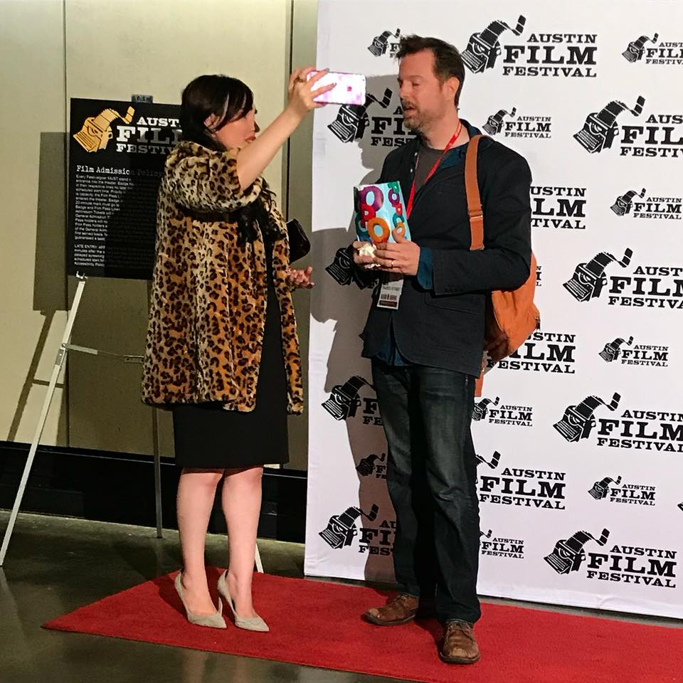 candid camera - Interviewing Wild Honey director Francis Stokes on Halloween at the 2017 Austin Film Festival.