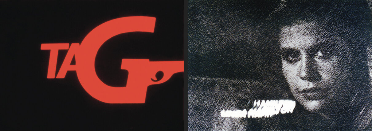 Frames from title sequence to   Tag–The Assassination Game  , including Linda Hamilton.
