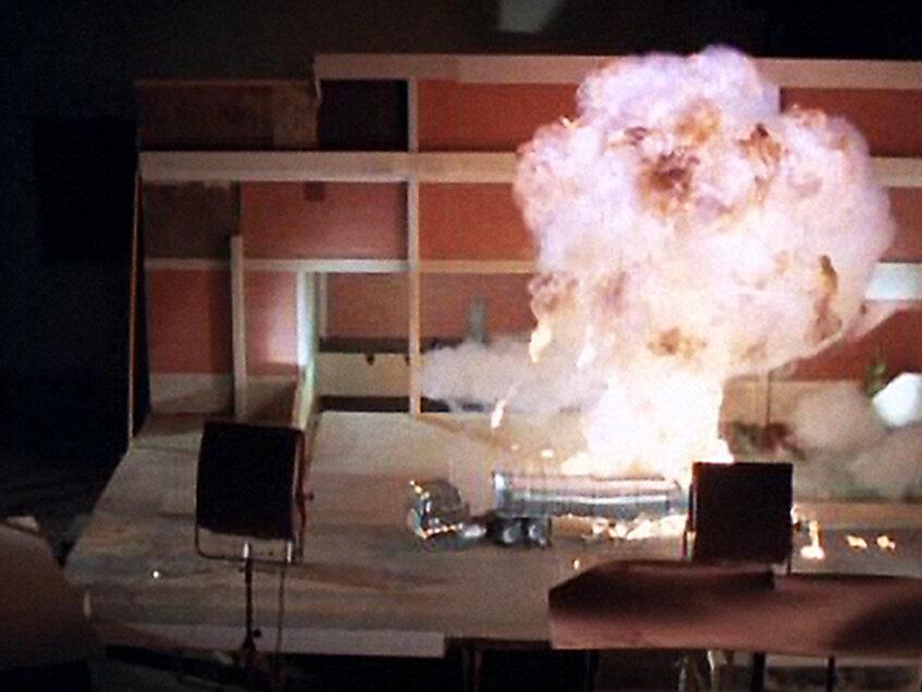 Filming tanker truck explosion in parking lot of Fantasy II in Burbank.