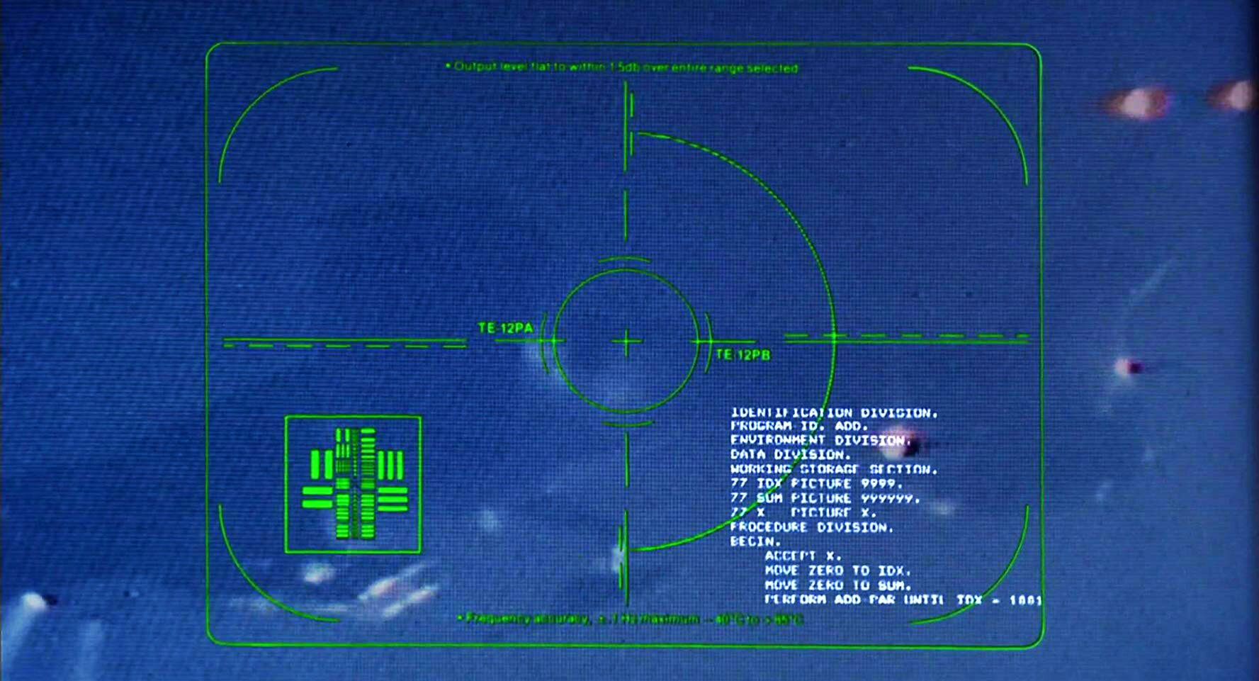 Computer readout display of HK (Hunter-Killer) machine in Future War sequence.