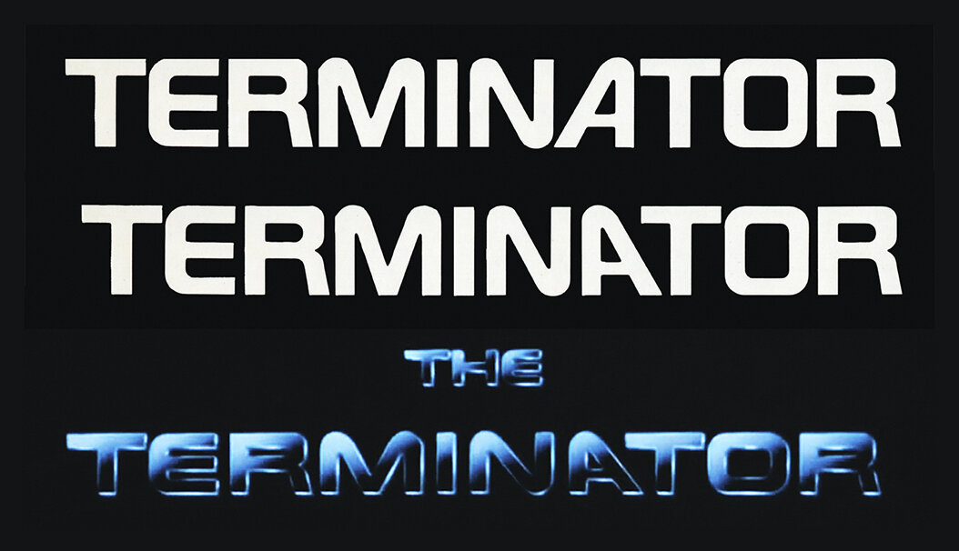 """Typeface for main title showing modified (flipped """"A"""") and final art."""