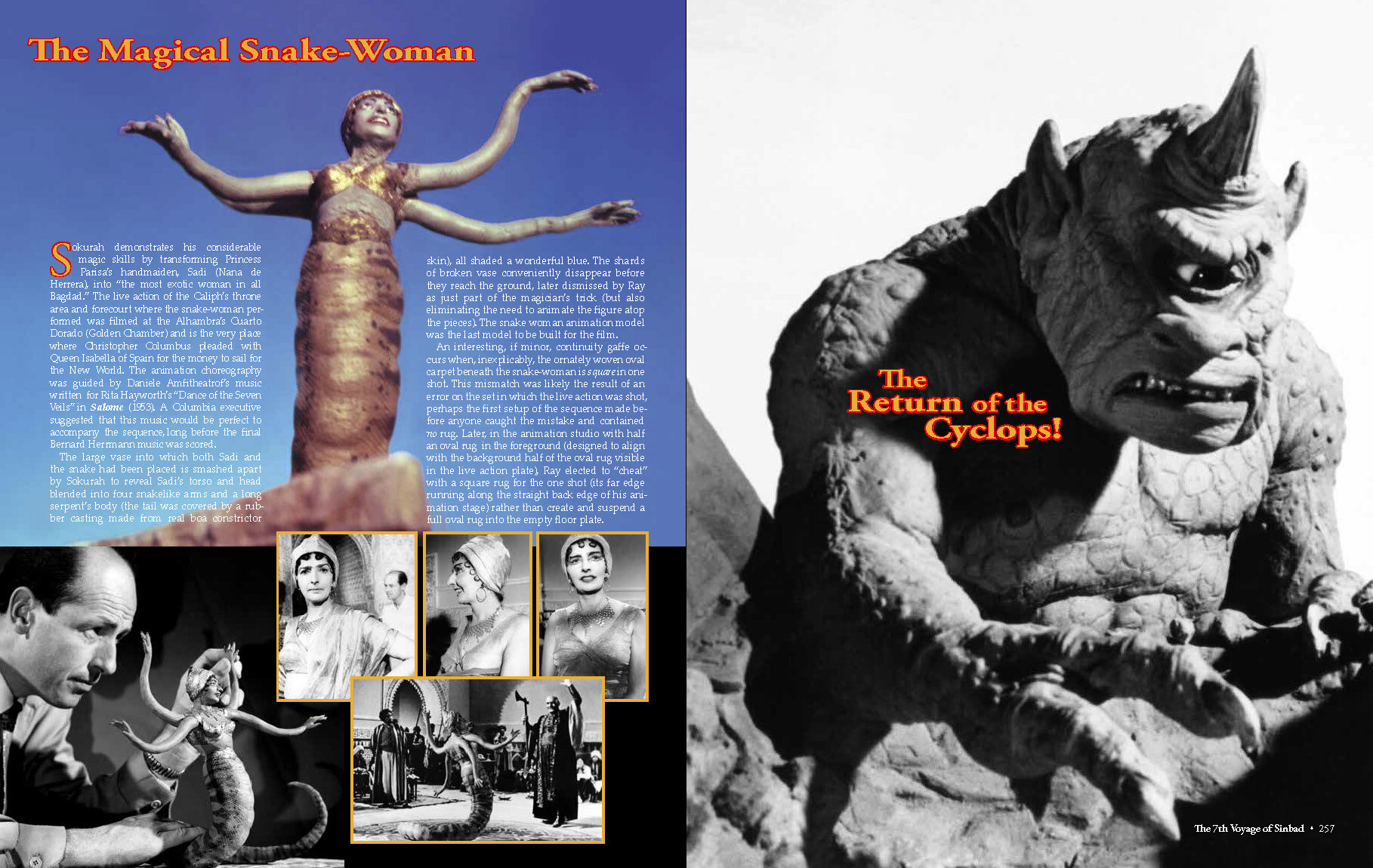 Ray Harryhausen–Master of the Majicks  – Sample layout from  The 7th Voyage of Sinbad  chapter.