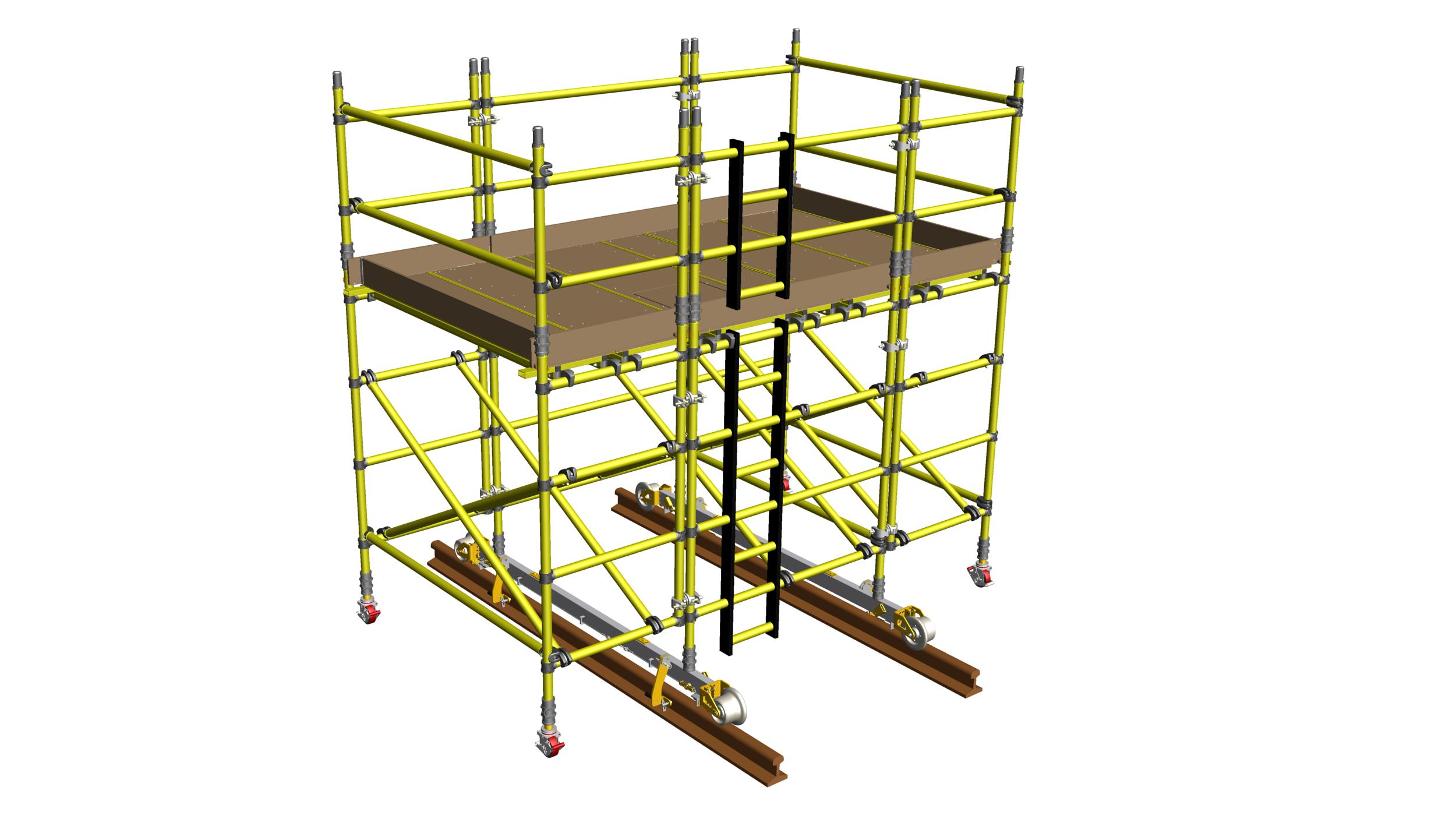 29. Fibreglass rail-mounted platforms