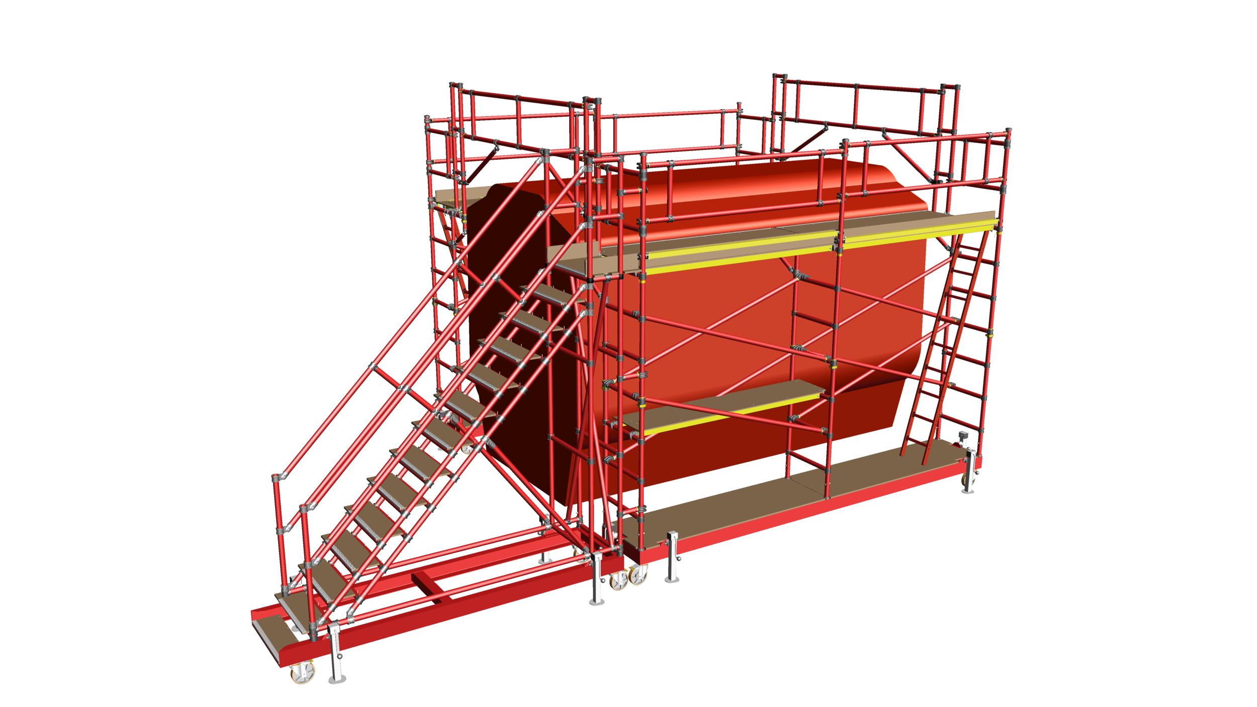 28. Fibreglass train roof access system