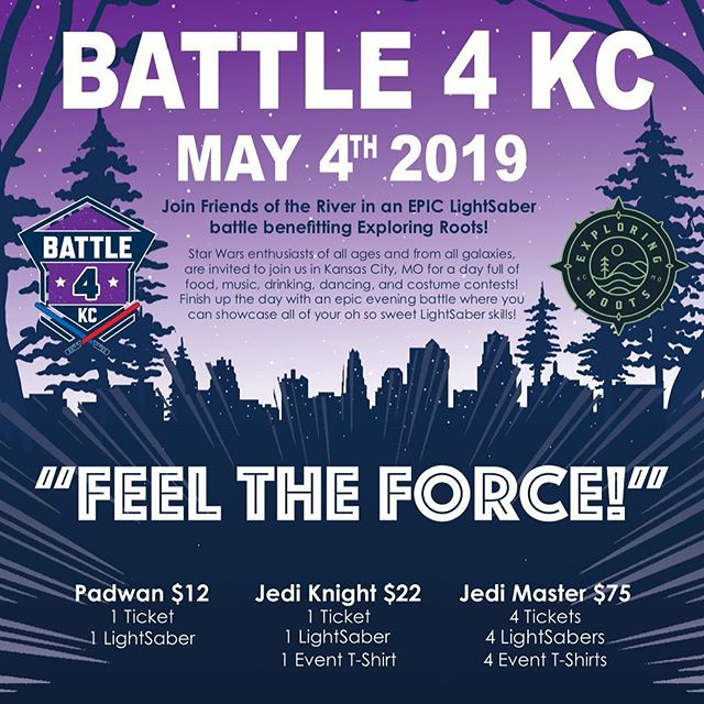 Are you ready for an epic LightSaber battle at Berkley Riverfront? We're grateful to be Battle4KC's 2019 battle for good recipient. Purchase your rank today via the link in our bio! #ExploreYourRoots #ReWildKC #igkansascity