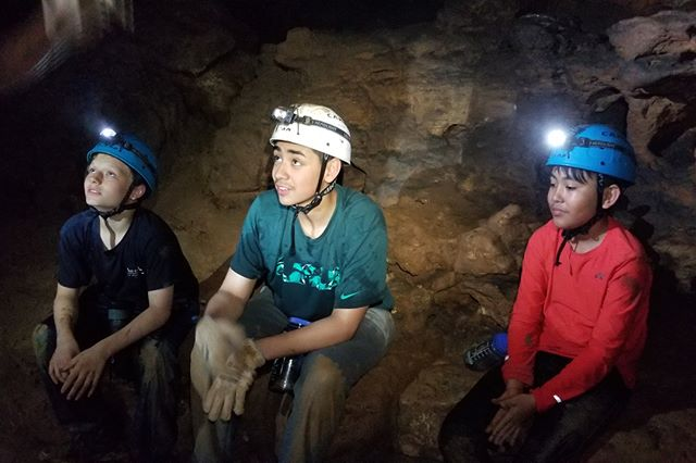 """The #ReWildKC Youth Explorers crew visited their second cave this past weekend. Can't live in """"The Cave State"""" and not spend at least a little time in a cave! Also, thanks to our partners at the KC Area Grotto for helping make this happen. ***NOTE: never enter a cave without expert guidance, or without permission. Caves are often extremely sensitive ecological environments and many are off limits."""