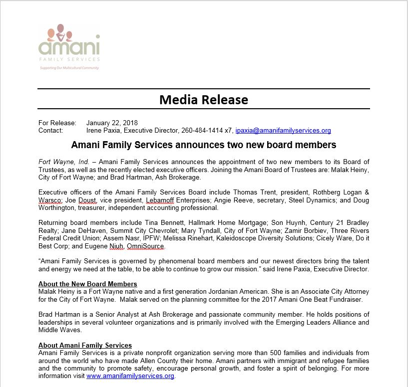 Amani Family Services Announce Two New Board Members