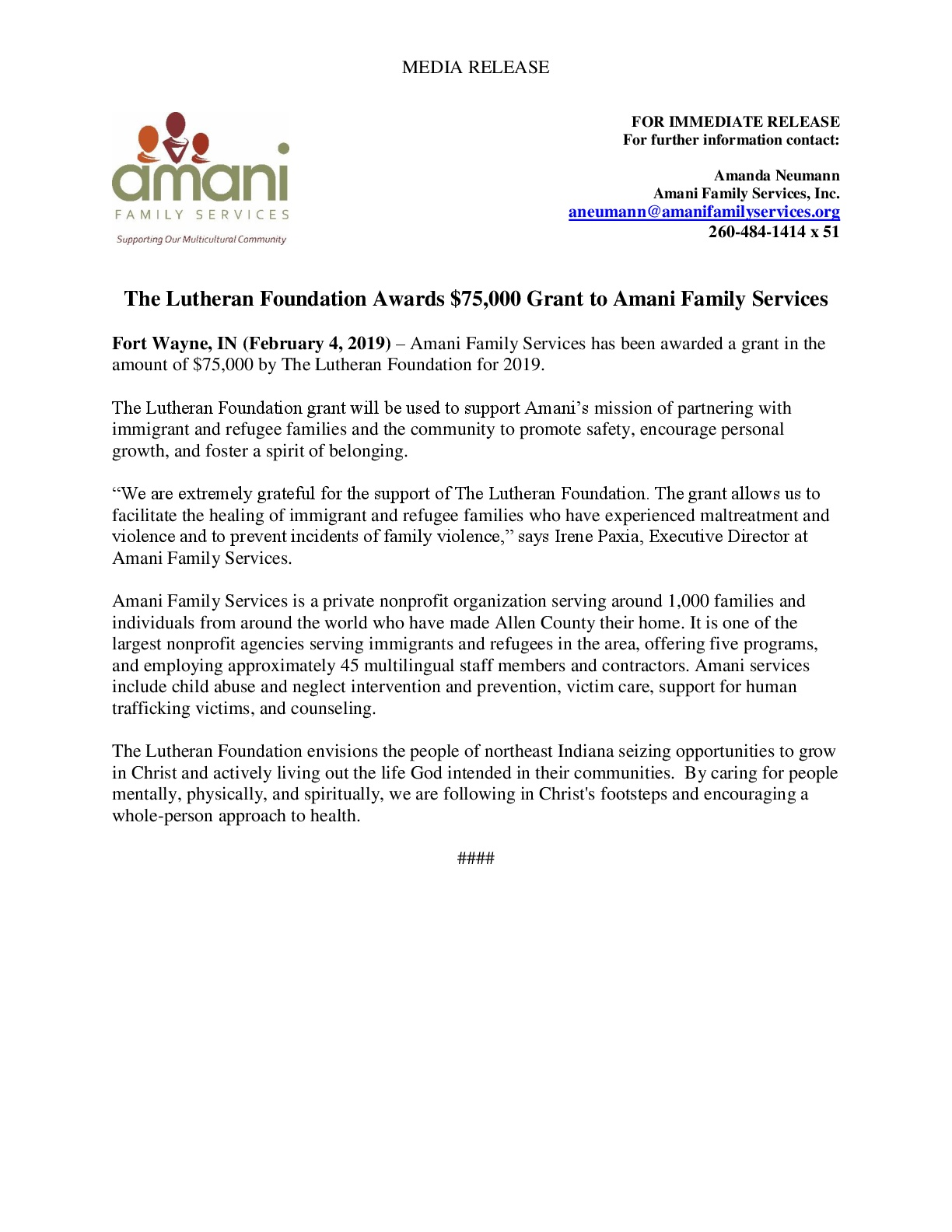 The Lutheran Foundation 2019 Press Release - Amani Family Services-001.jpg