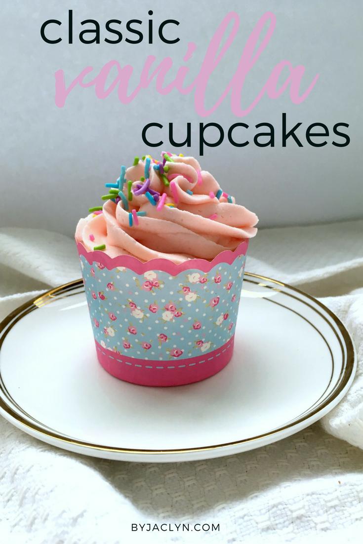 Classic vanilla cupcake recipe topped with a fluffy vanilla buttercream