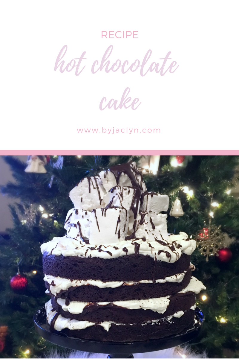 A rich, moist chocolate cake filled with layers of chocolate ganache and fluffy whipped cream. The cake is topped with gooey homemade marshmallows making it a true show stopper!