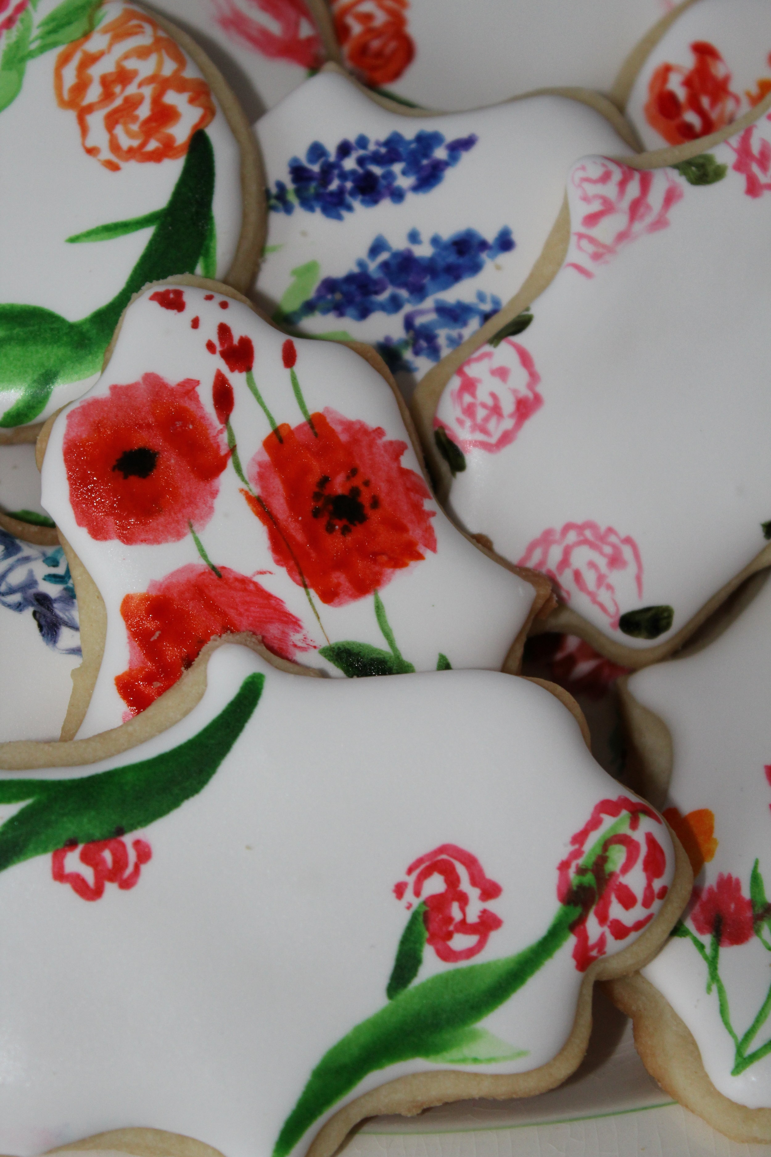 Hand Painted Floral Water Colour Sugar Cookies