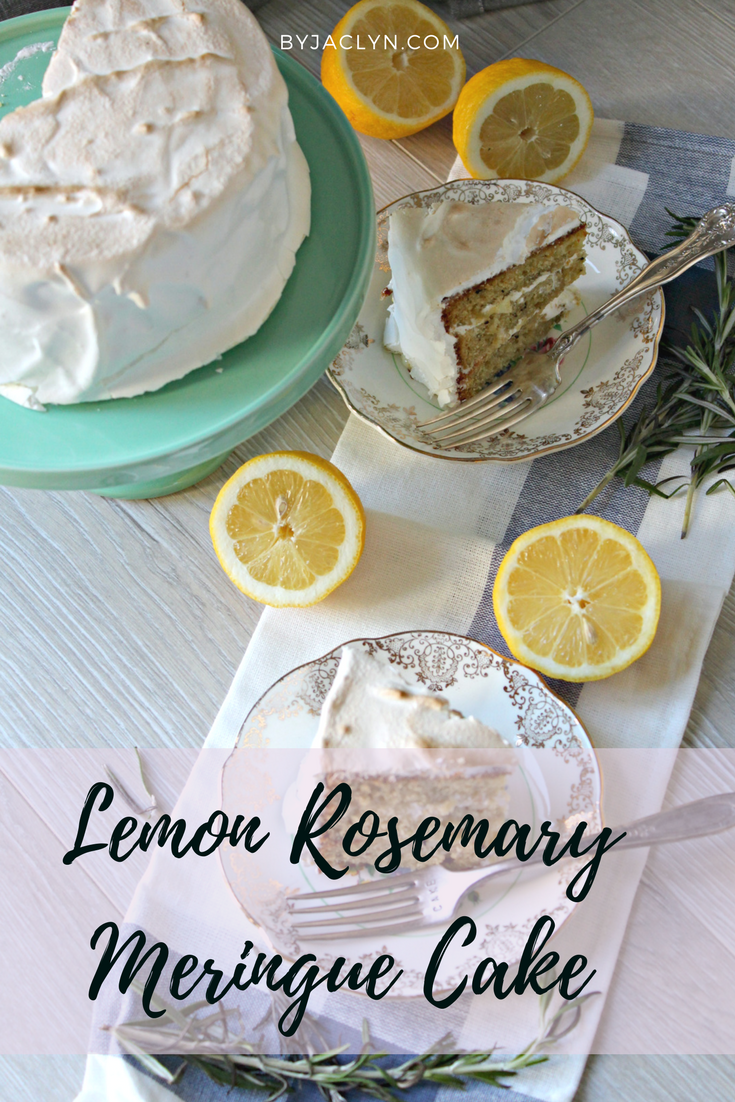 Lemon Rosemary Cake with Lemon Curd Filling and Meringue Frosting
