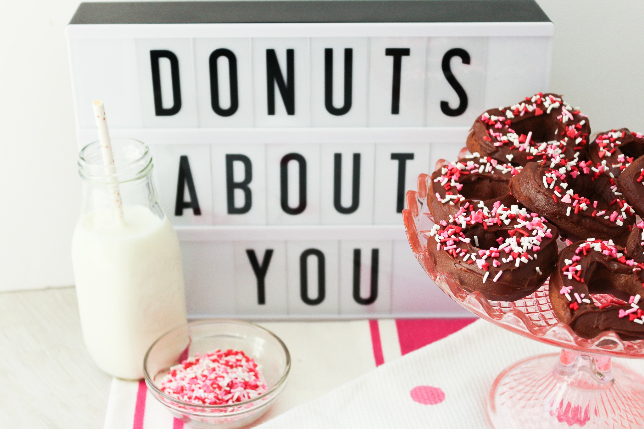 """Donuts About You"": Baked Double Chocolate Heart Shaped Donuts with Valentine's Sprinkles"
