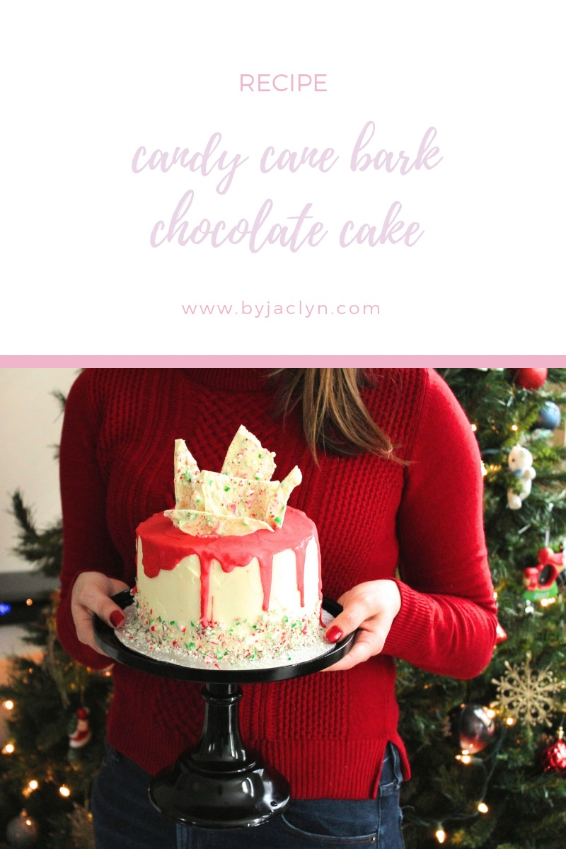 White Chocolate Candy Cane Bark Chocolate Layered Cake