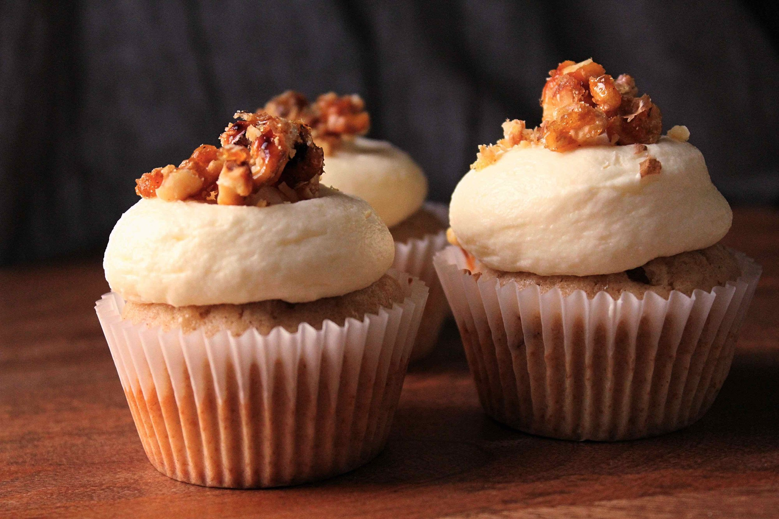 Brown Butter Banana Cupcakes with Cream Cheese Frosting and Candied Walnuts