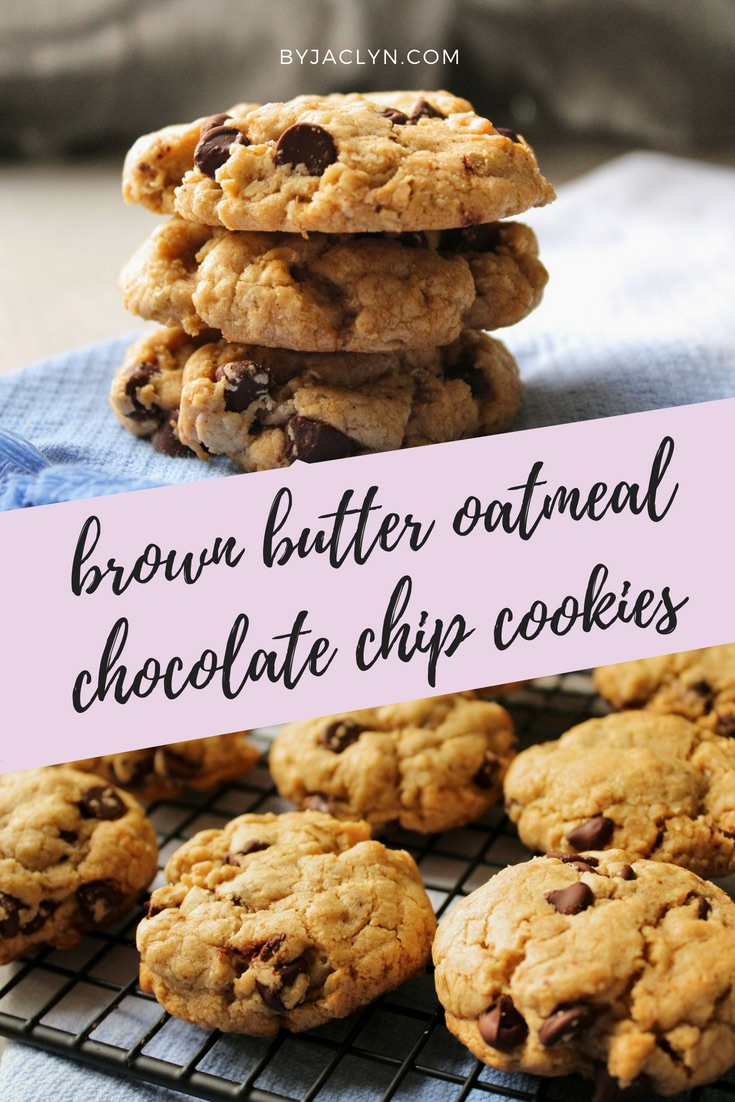 Chewy Brown Butter Oatmeal Chocolate Chip Cookies